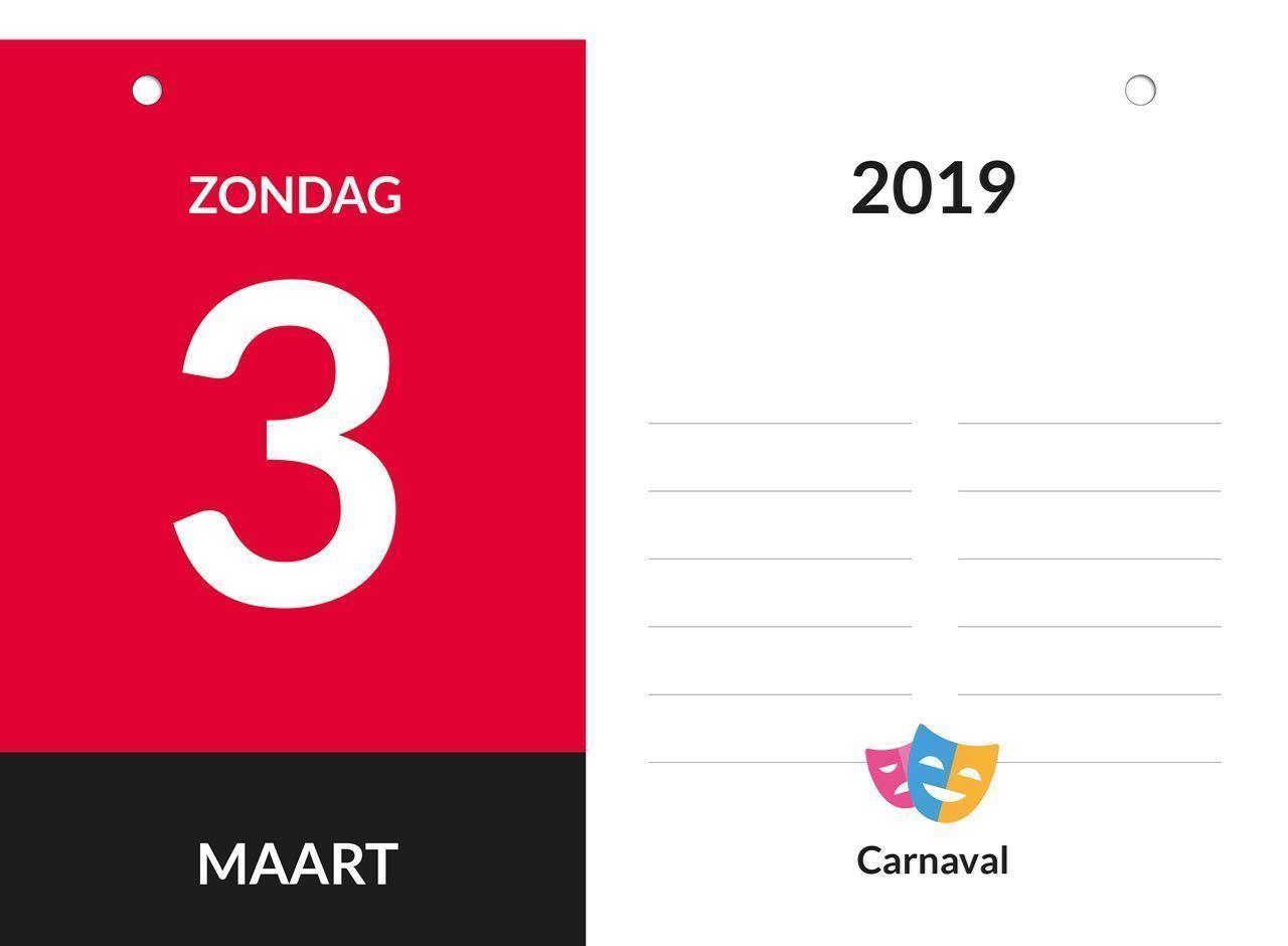 Dagkalender A4, scheurkalender, voorbeeld week-end aanduiding 2019