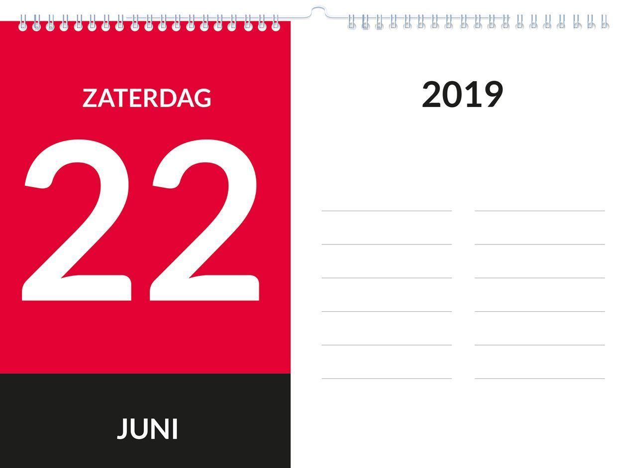 Dagkalender A5, met ophang haak, voorbeeld week-end aanduiding 2019