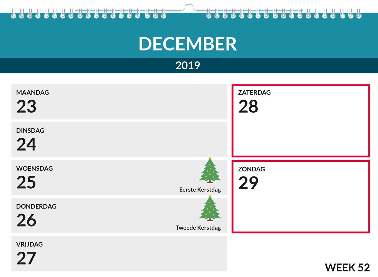 Weekkalender A4, met ophang haak, inhoud