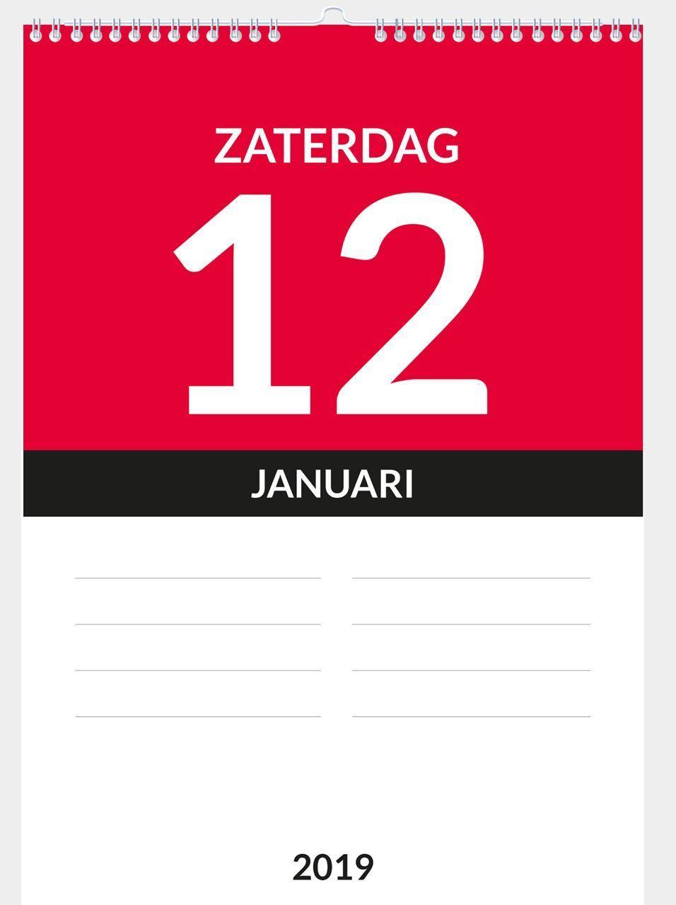 Dagkalender A4, met ophang haak, voorbeeld inhoud week-end aanduiding 2019