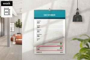 Afbeelding van Weekkalender A5 staand met ophang haak (2021)