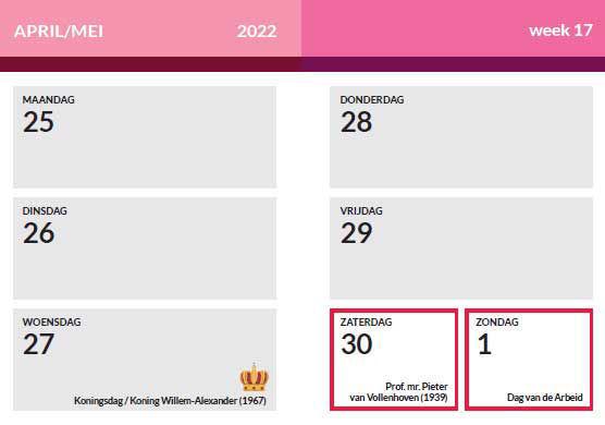 Voorbeeld weekoverzicht 2022